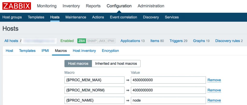 Zabbix host macros