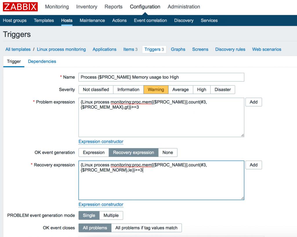 Zabbix: Create custom process monitoring (CPU, MEM) with hysteresis
